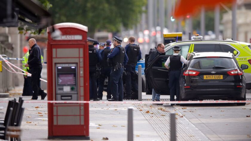 Britain's Police at the scene of an incident in central London, Saturday, Oct. 7, 2017. London polic