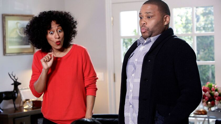 """Tracee Ellis Ross and Anthony Anderson of ABC's """"black-ish."""""""