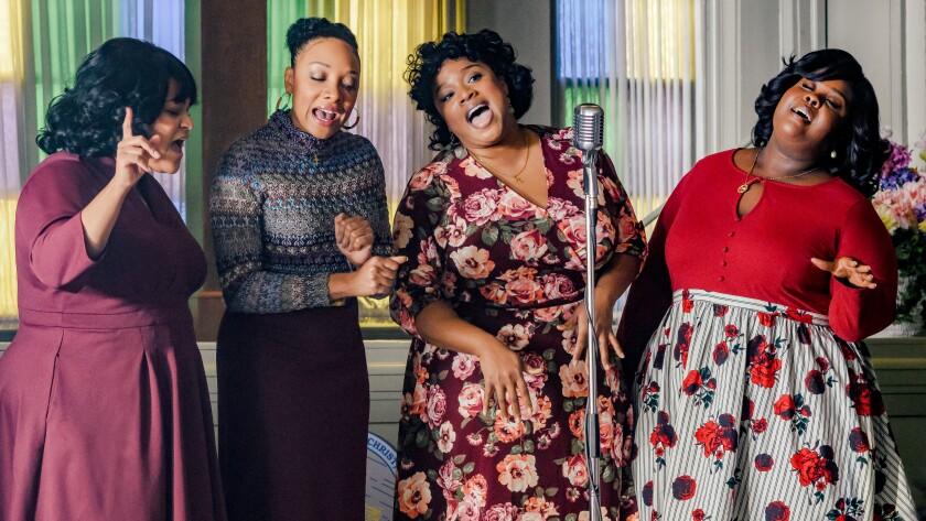 """Angela Birchett, left, Shelea Frazier, Kierra Sheard and Raven Goodwin in """"The Clark Sisters: First Ladies of Gospel"""" on Lifetime."""