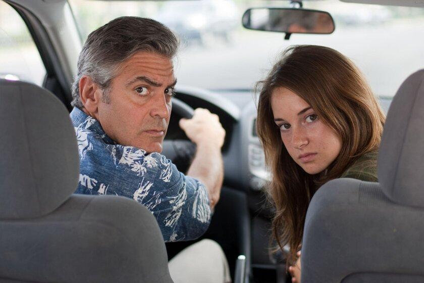 """George Clooney as Matt King and Shailene Woodley as Matt's teen daughter Alex in """"The Descendants."""" Erie Wallace"""