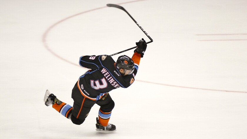 Gulls' Andy Welinski breaks his stick trying to score in earlier playoff series this spring.