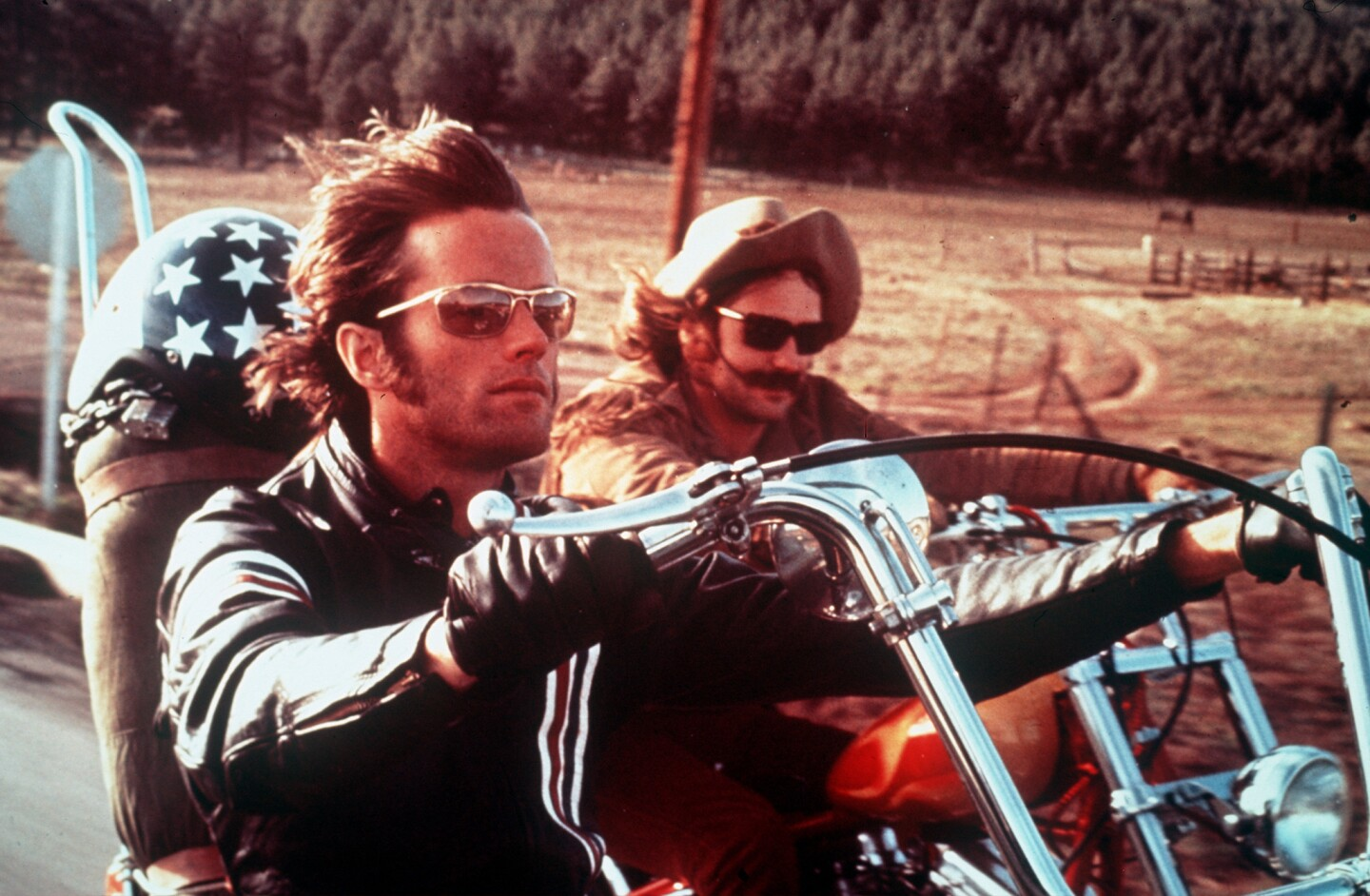 """Perhaps the ultimate road movie, 1969's smash hit """"Easy Rider,"""" with Peter Fonda, left, and Dennis Hopper, ushered in an era of youth-oriented studio films."""