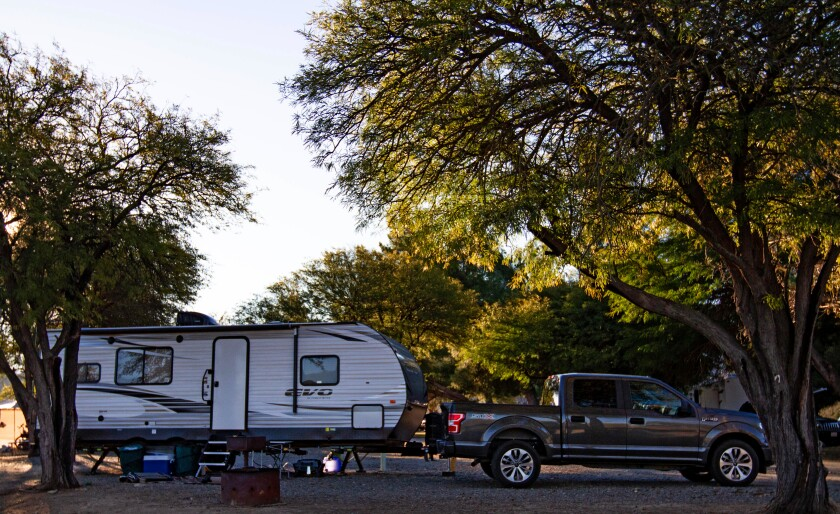 Trailer at Temecula Vail Lake KOA campground in Temecula.