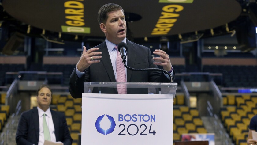 Boston Mayor Martin J. Walsh speaks about the city's Olympic bid during a news conference at TD Garden on June 18.