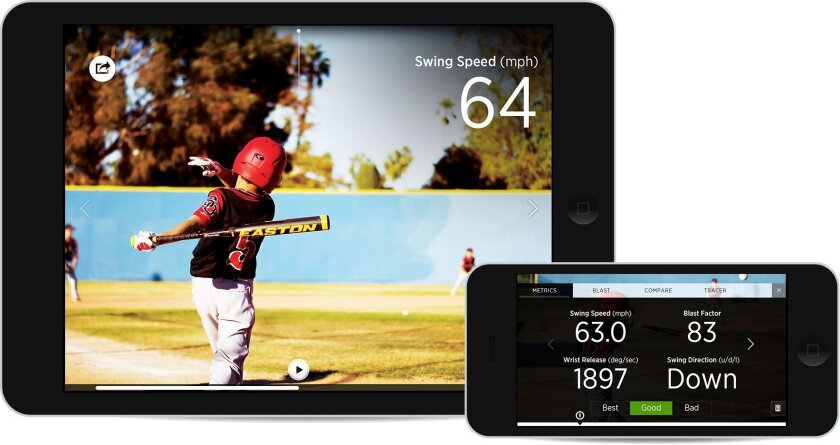 Bat maker Easton has a partnership with Blast Motion to provide swing metrics for baseball and softball players.