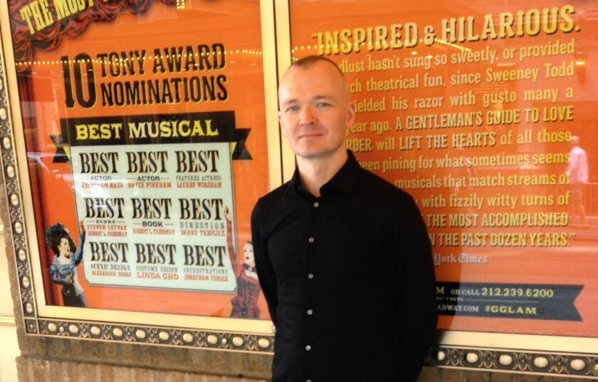 """Director and Tony Award nominee Darko Tresnjak outside Broadway's Walter Kerr Theatre, where """"A Gentleman's Guide to Love and Murder"""" is now running."""