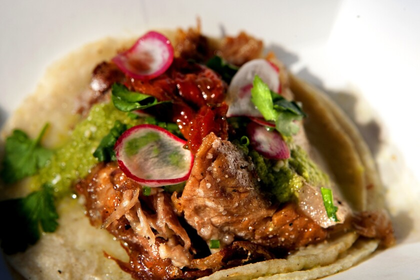 A pork belly taco from the Guerrilla Tacos, a tiny operation that pops up a few days a week around the corner from Handsome Coffee Roasters in downtown Los Angeles.