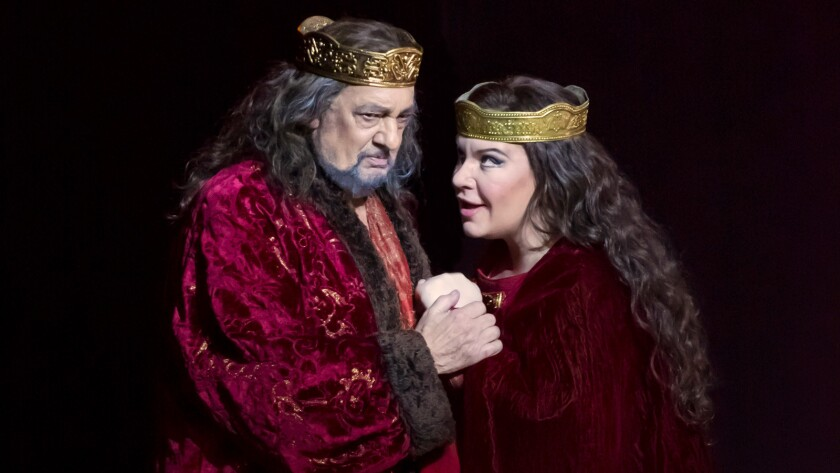 "Plácido Domingo and Ekaterina Sememchuk appear in a 2015 production of ""Macbeth"" in Valencia, Spain."