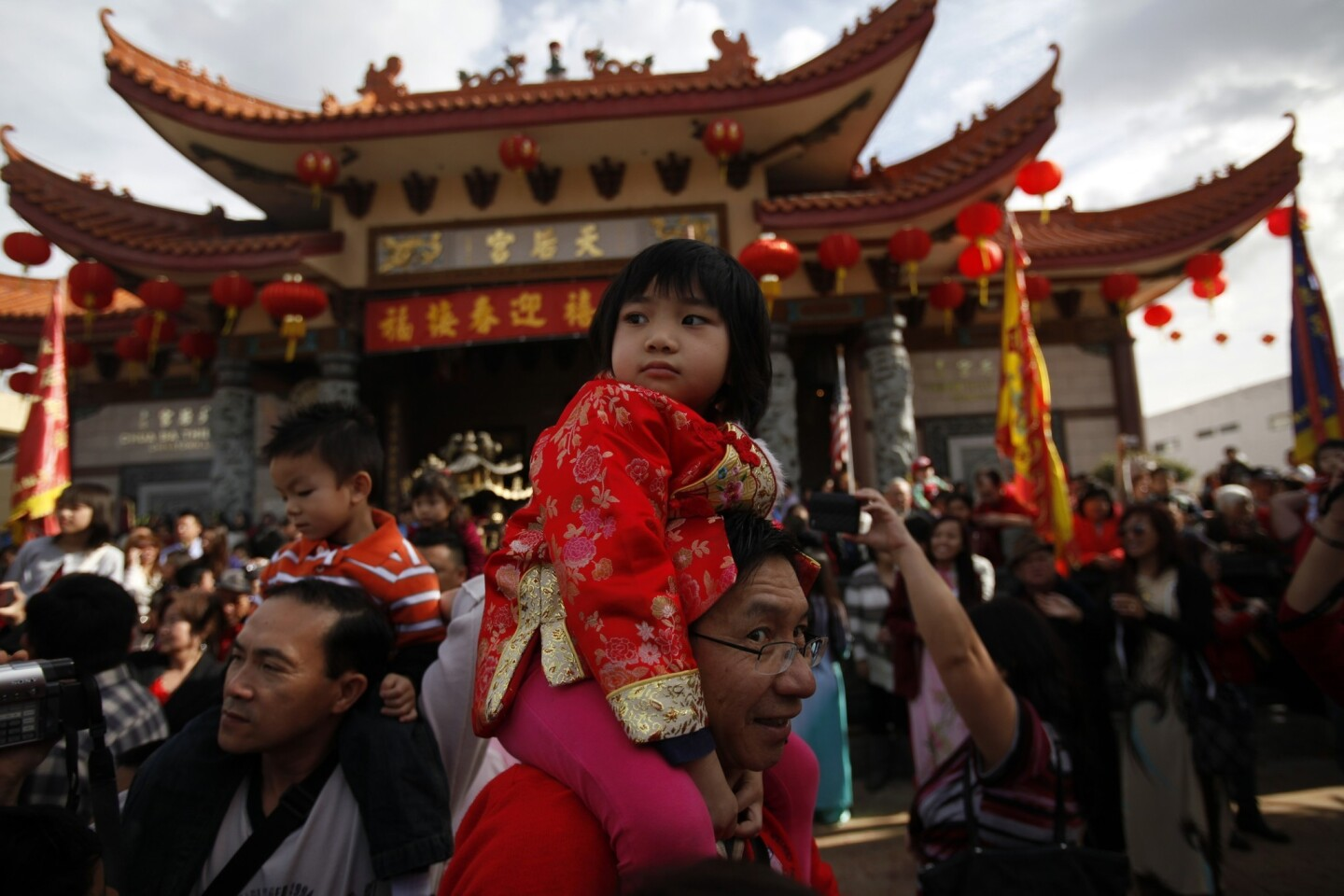 Thousands gather at the Thien Hau Temple in Los Angeles' Chinatown to celebrate Chinese New Year.