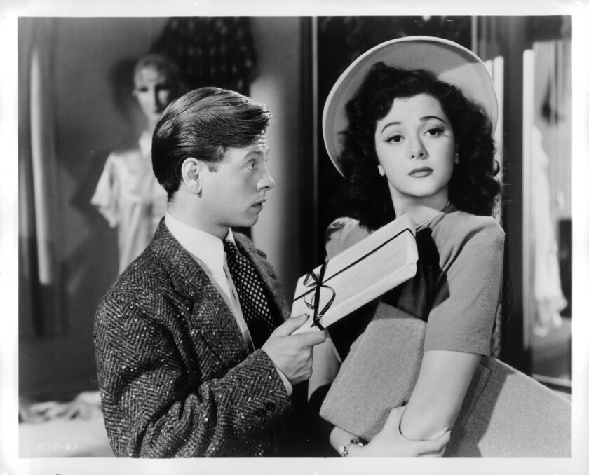 """Mickey Rooney and Ann Rutherford in """"Andy Hardy's Private Secretary"""" (1941)."""