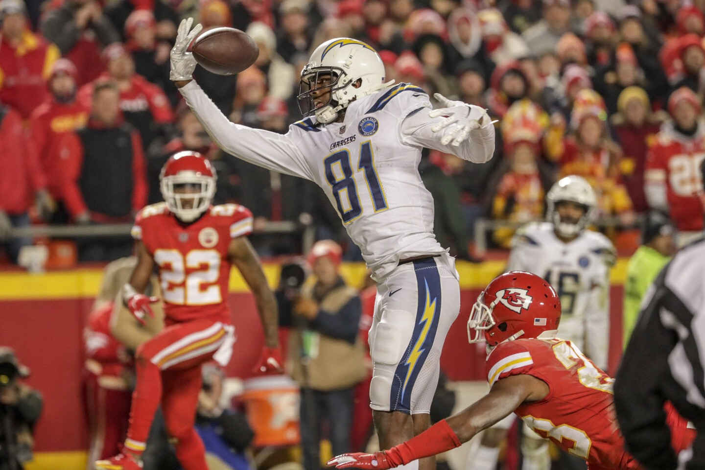 Chargers receiver can't pull in a pass, but Chiefs cornerback Kendall Fuller was flagged for pass interference.