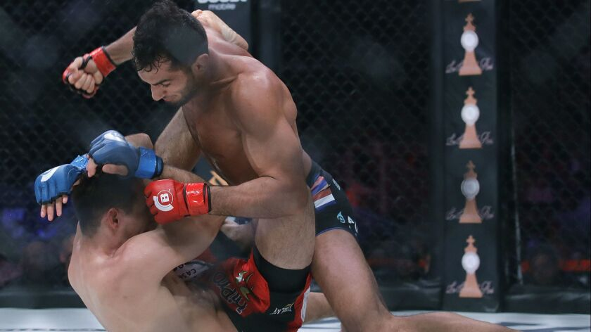 Gegard Mousasi, top, punches Rory MacDonald during a middleweight world title mixed martial arts bout at Bellator 206 in San Jose on Saturday. Mousasi won by technical knockout in the second round to retain the title.
