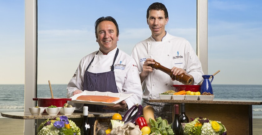 Executive Chef Bernard Guillas (left) and Chef de Cuisine Ron Oliver of The Marine Room in La Jolla. (Courtesy photo)
