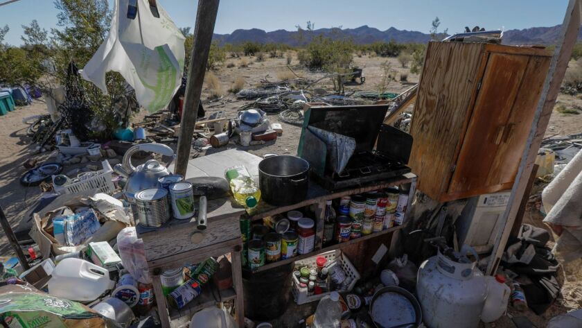 A part of the lot in Joshua Tree where three children were found living in a ramshackle plywood structure.