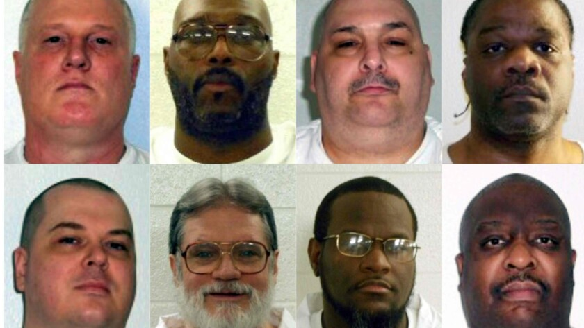 Eight men had been scheduled to be executed. Top, from left: Don Davis, Stacey Johnson, Jack Jones and Ledell Lee; bottom, from left: Jason McGehee, Bruce Ward, Kenneth Williams and Marcel Williams.
