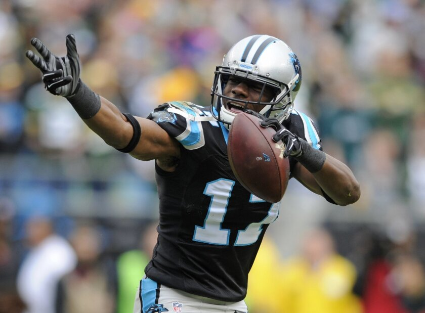 Carolina Panthers' Devin Funchess (17) celebrates after his catch against the Green Bay Packers in the first half of an NFL football game in Charlotte, N.C., Sunday, Nov. 8, 2015. (AP Photo/Mike McCarn)