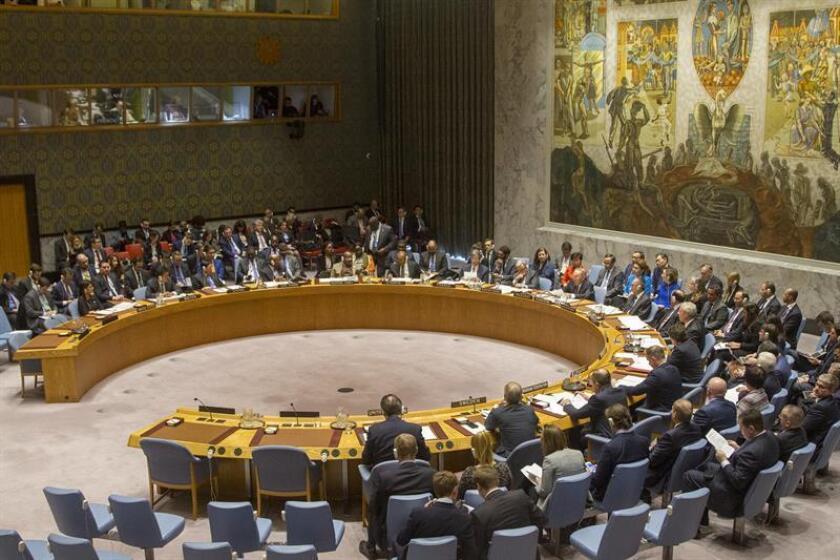 Vista general del pleno del Consejo de Seguridad de ONU durante una reunión en la sede del organismo en Nueva York (EE.UU.). EFE/Archivo