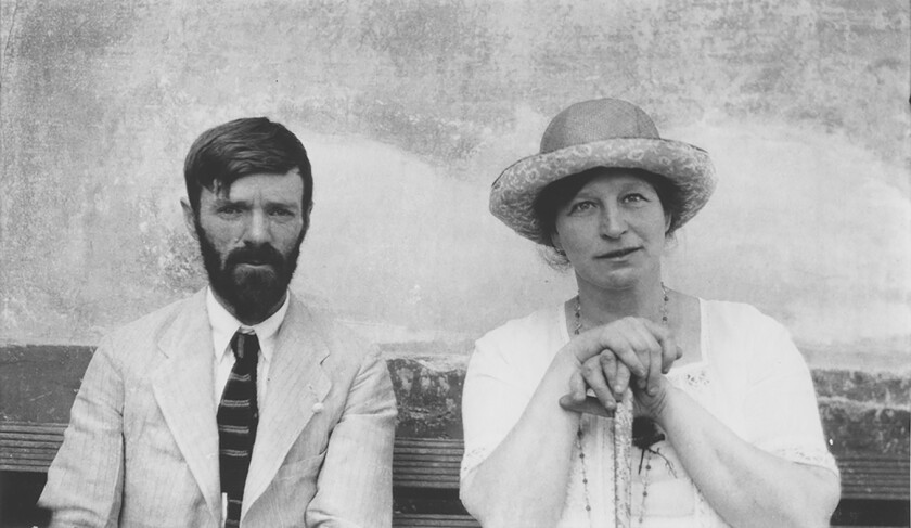 """D.H. Lawrence and wife Frieda Lawrence in Chapala, Mexico in 1923. From Frances Wilson's new biography, """"Burning Man."""""""