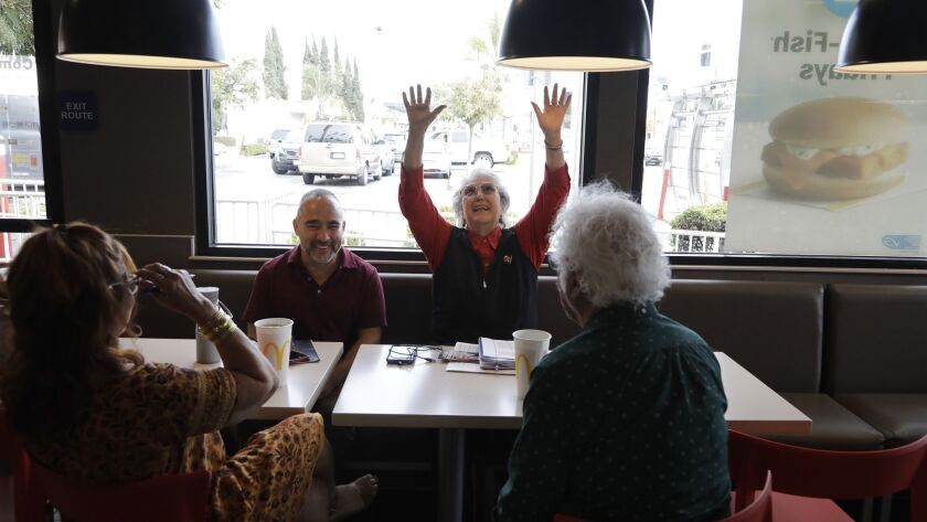LOS ANGELES, CA -- APRIL 8, 2019: Jackie Goldberg throws her hands up declaring she already got her