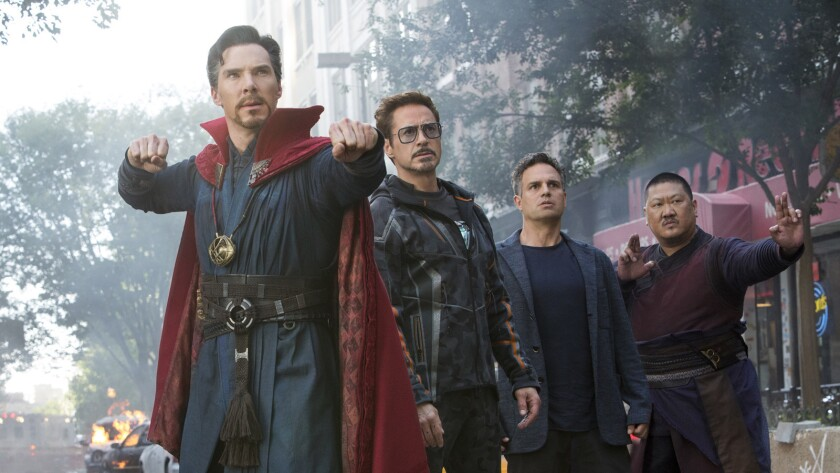 """Benedict Cumberbatch, from left, Robert Downey Jr., Mark Ruffalo and Benedict Wong in the movie """"Avengers: Infinity War."""""""