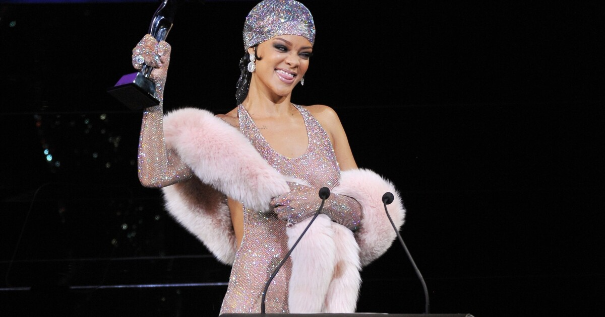 Rihanna S Cfda Awards Gown Sparkly Pantyhose Or Major Statement Los Angeles Times