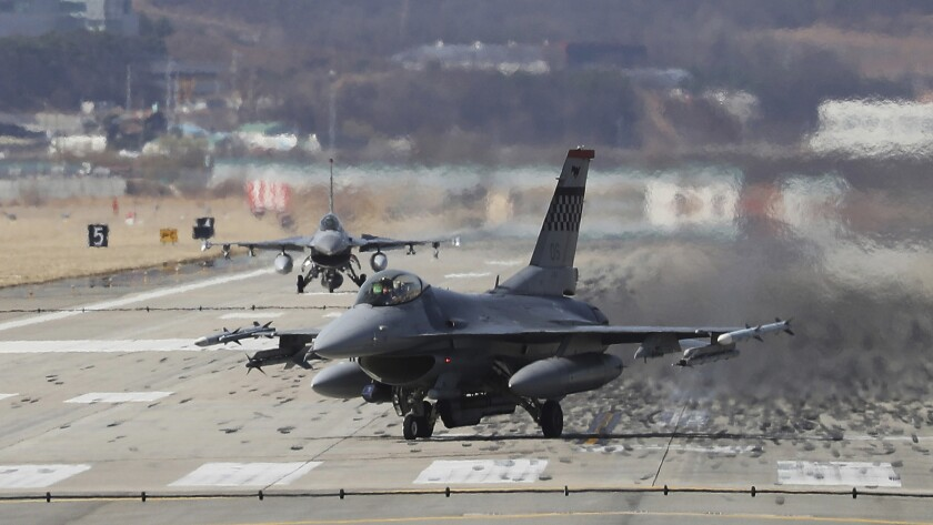 U.S. Air Force F-16 fighter jets land at the Osan Air Base in Pyeongtaek, South Korea.