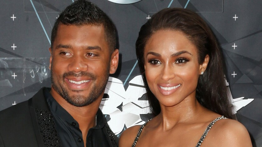 Seattle Seahawks quarterback Russell Wilson and recording artist Ciara made it a date at the 2015 BET Awards in Los Angeles in June.