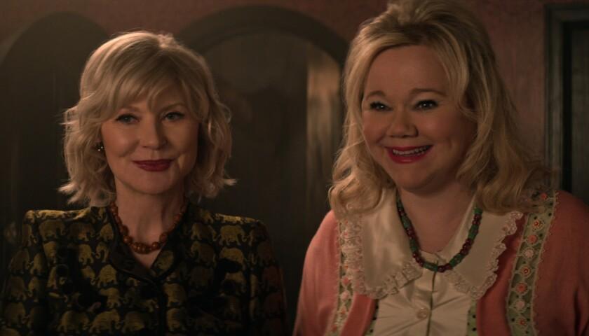 "Beth Broderick's Zelda and Caroline Rhea's Hilda smiling in ""Chilling Adventures of Sabrina"""