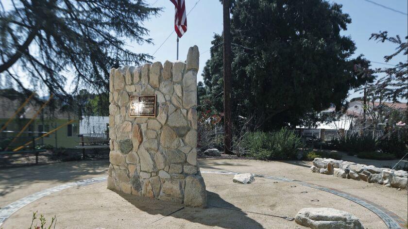 An edifice near Monta Vista Elementary School in La Crescenta Valley on Monday, March 25, 2019. Pare