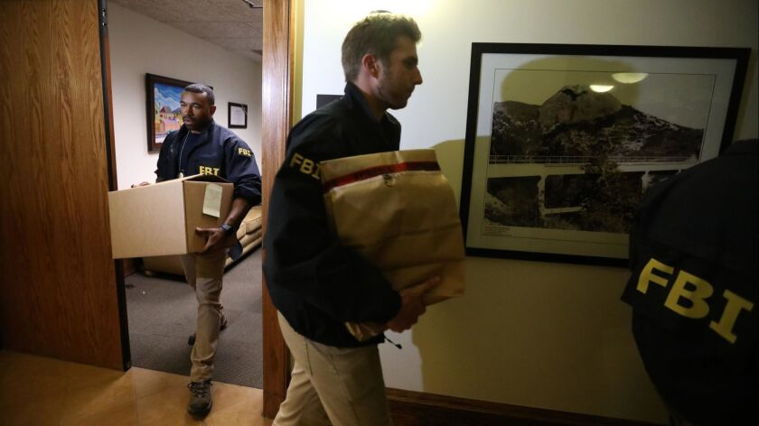 LOS ANGELES, CA - NOVEMBER 7, 2018 - - FBI agents leave the office of Los Angeles City Councilman Jo