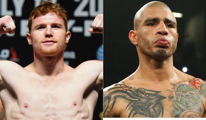 """Saul """"Canelo"""" Alvarez, left, and middleweight world champion Miguel Cotto."""