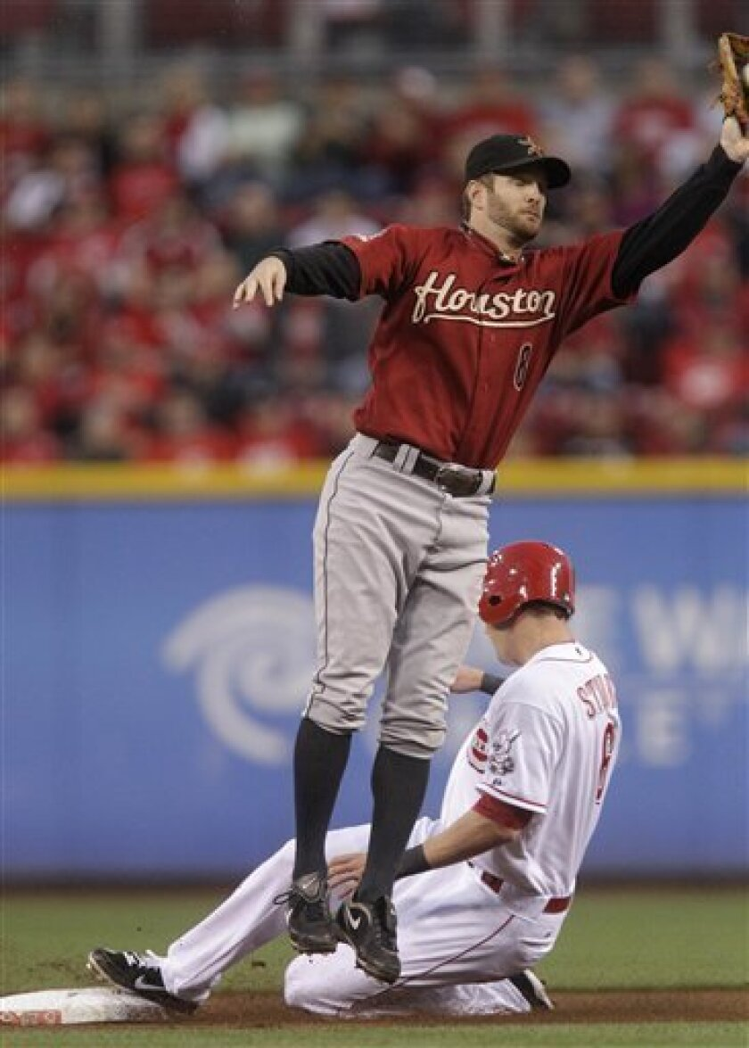 Cincinnati Reds' Drew Stubbs (6) steals second base as Houston Astros second baseman Jeff Keppinger (8) catches a high throw in the first inning of a baseball game Tuesday, Sept. 28, 2010, in Cincinnati. (AP Photo/Al Behrman)