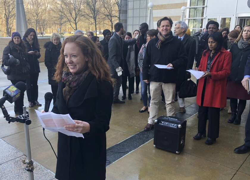 Linda Evarts, an attorney for the International Refugee Assistance Project, speaks to the media outside the federal courthouse in Greenbelt, Md., on Jan. 8.