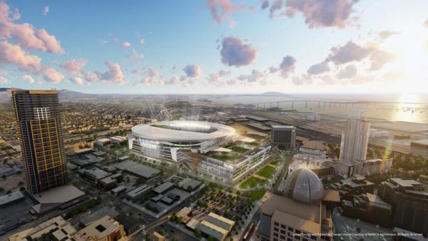 A rendering of what a downtown stadium and convention center annex might look like