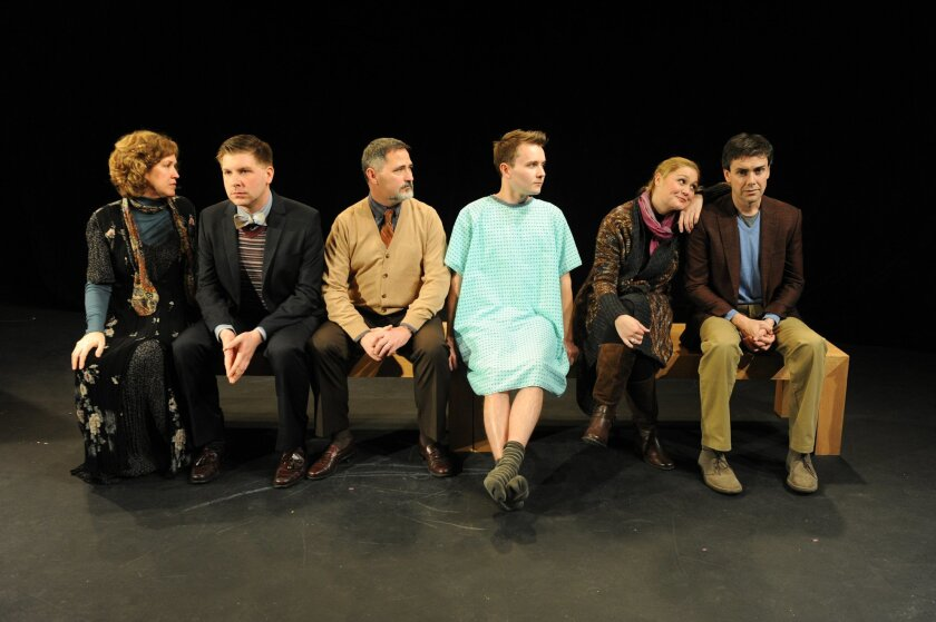 "Shana Wride, Tony Houck, John Whitley, Stewart Calhoun, Jacque Wilke and Matt McGrath (left to right) in the Diversionary Theatre production of Geoffrey Nauffts' ""Next Fall."""