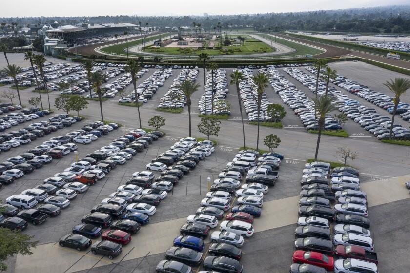 Thousands of rental cars were parked at the Santa Anita racetrack parking lot April 29, 2020.