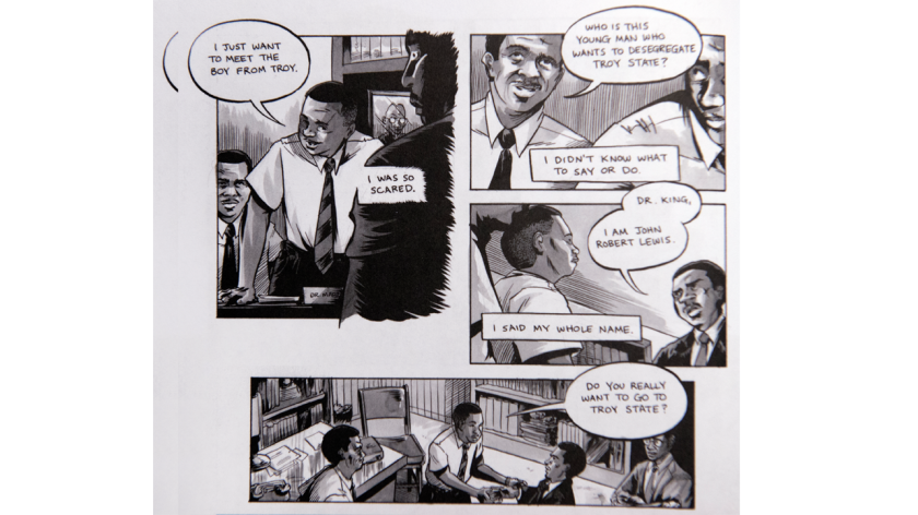 """A page from """"March: Book 1"""" by John Lewis,  Andrew Aydin and Nate Powell."""