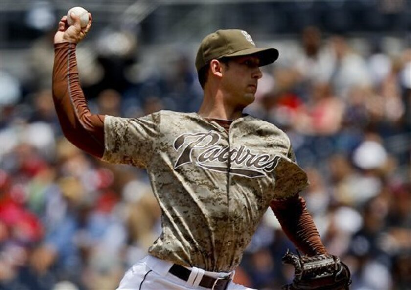 San Diego Padres starting pitcher Joe Wieland works the first inning against the Miami Marlins during a baseball game Sunday, May 6, 2012 in San Diego. (AP Photo/Lenny Ignelzi