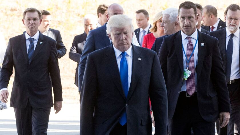 President Donald J. Trump leaves after a ceremony at the NATO summit in Brussels, Belgium on May 25.