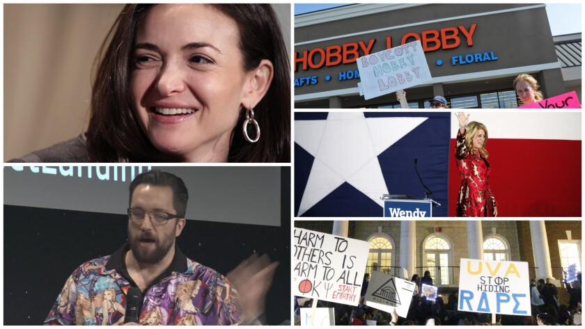 Clockwise from left to right, Sheryl Sandberg, a demonstration in front of a Hobby Lobby store, Wendy Davis, a protest on the UVa campus, and Matt Taylor.