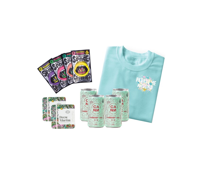 Assortment of three cannabis products and a sweatshirt