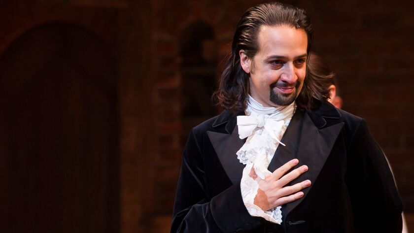 """Hamilton"" composer, lyricist, book writer and star Lin-Manuel Miranda, at curtain call on opening n"