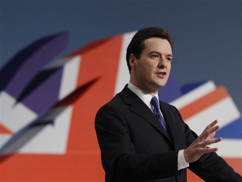 Britain's Chancellor George Osborne delivers his keynote speech at the Conservative party conference in Birmingham, England, Monday, Oct. 4, 2010. The annual conference at the International Convention Centre in Birmingham runs until Wednesday. (AP Photo/Kirsty Wigglesworth)