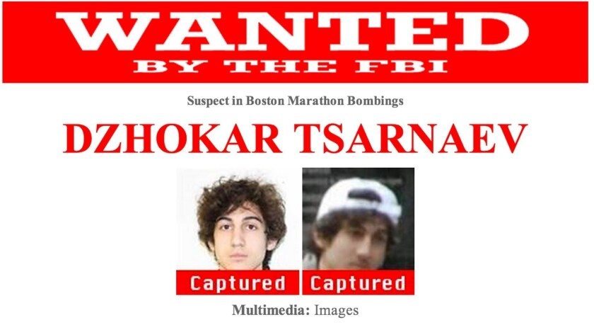 The FBI's wanted poster was updated Friday evening to indicate the capture of Dzhokhar Tsarnaev, 19.