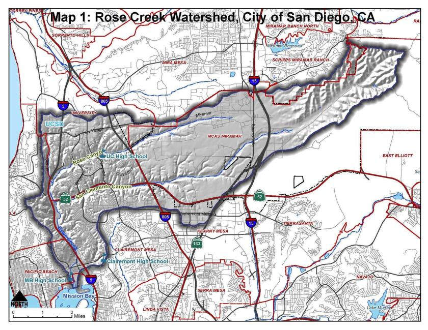 The lower left side of this map shows Rose Creek Trail's course in Pacific Beach.