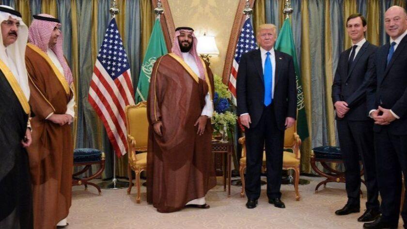 President Trump meets with Saudi Crown Pnce Mohammad bin Salman in Riyadh in 2017.