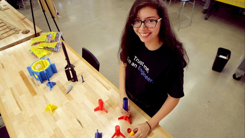 """UCLA student Mia Reyes was recruited by Northrop Grumman for an internship last year, and plans to intern with the company again this upcoming year. She was drawn by the company's work on the James Webb Space Telescope. """"That telescope is the coolest thing in the world to me."""""""