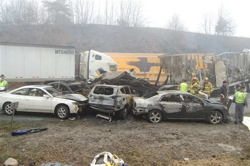This photo provided by the Virginia State Police shows the scene following a 75-vehicle pileup on Interstate 77 near the Virginia-North Carolina border in Galax, Va., on Sunday, March 31, 2013. Virginia State Police say three people have been killed and more than 20 are injured and traffic is backe