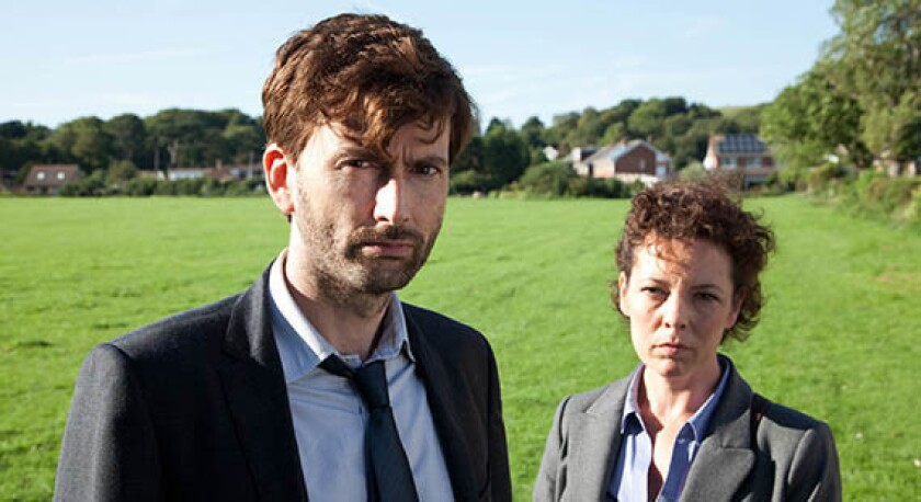 """David Tennant portrays Alec Hardy and Olivia Colman is Ellie Miller in the popular British series """"Broadchurch."""""""