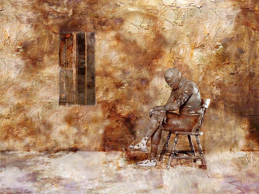 """Hossein Khosrojerdi's digital painting on canvas """"Panjareh"""" (2003)."""